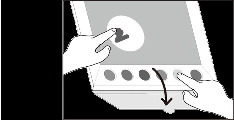 カレンダーのボードに絵の具がついています。カバーを開け、指につけて描いてください。※絵の具の劣化を防ぐため、使用後は必ずカバーを閉じてください。