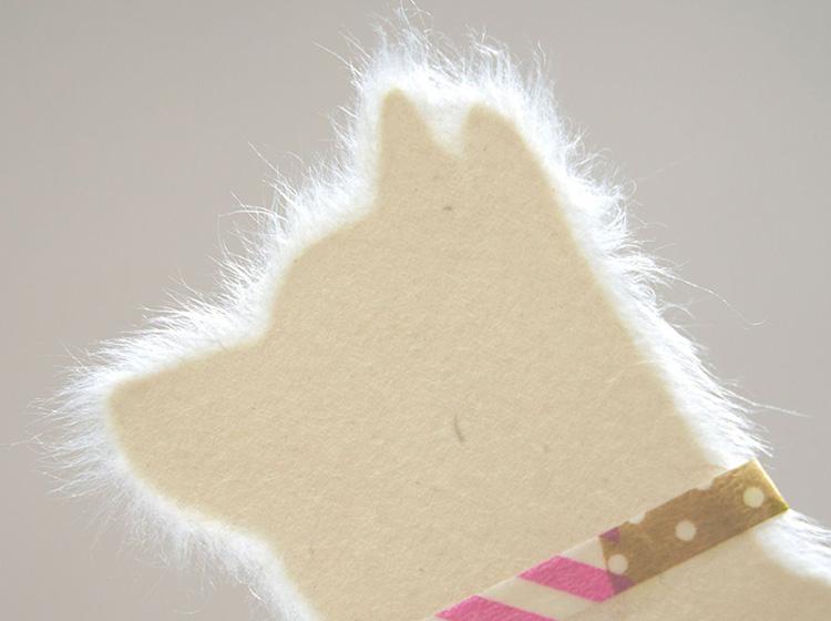 美濃和紙を手ちぎりしたメッセージカードWashi犬